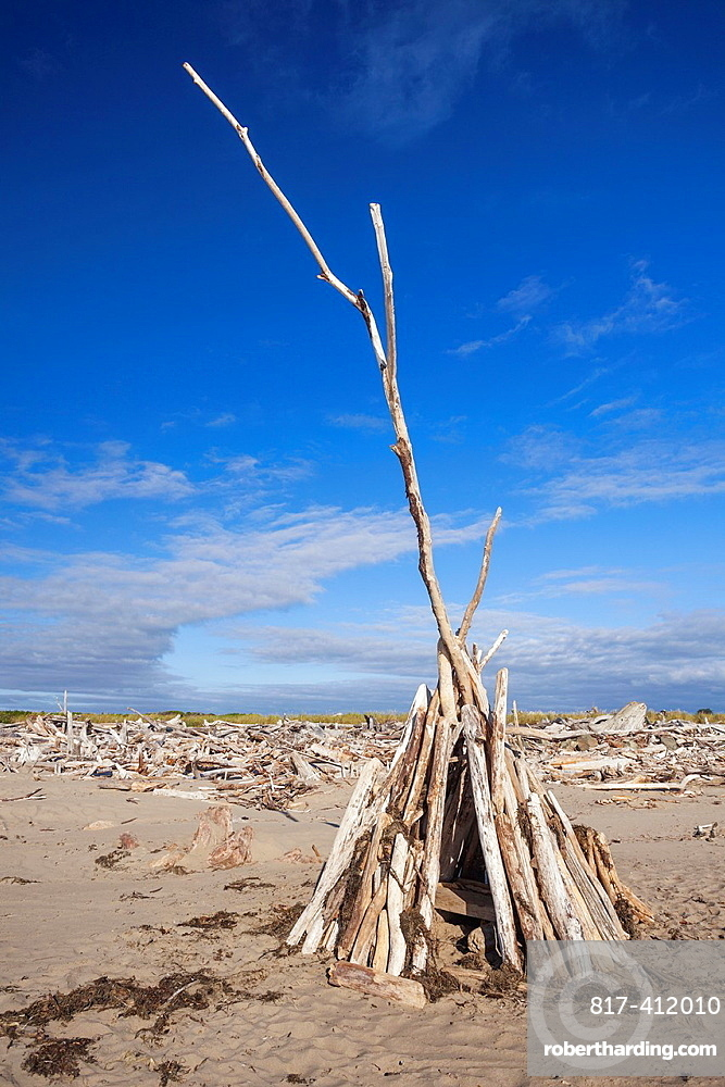 A teepee constructed of driftwood offers protection from the wind, Bandon, Oregon