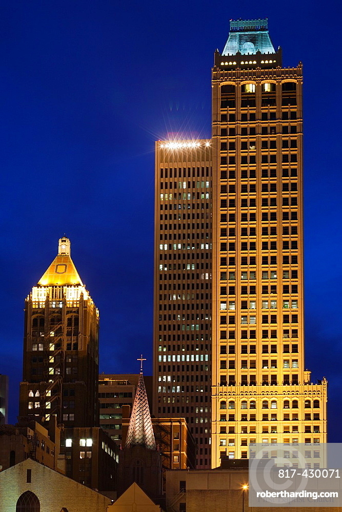 USA, Oklahoma, Tulsa, old and new high rise buildings, Art-Deco district, dusk
