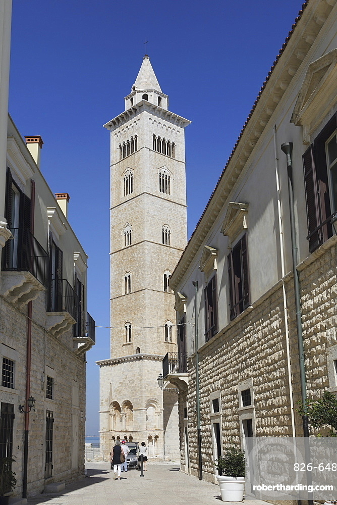 The 60 metre tall bell tower of the Cathedral of St. Nicholas the Pilgrim (San Nicola Pellegrino) in Trani, Apulia, Italy, Europe