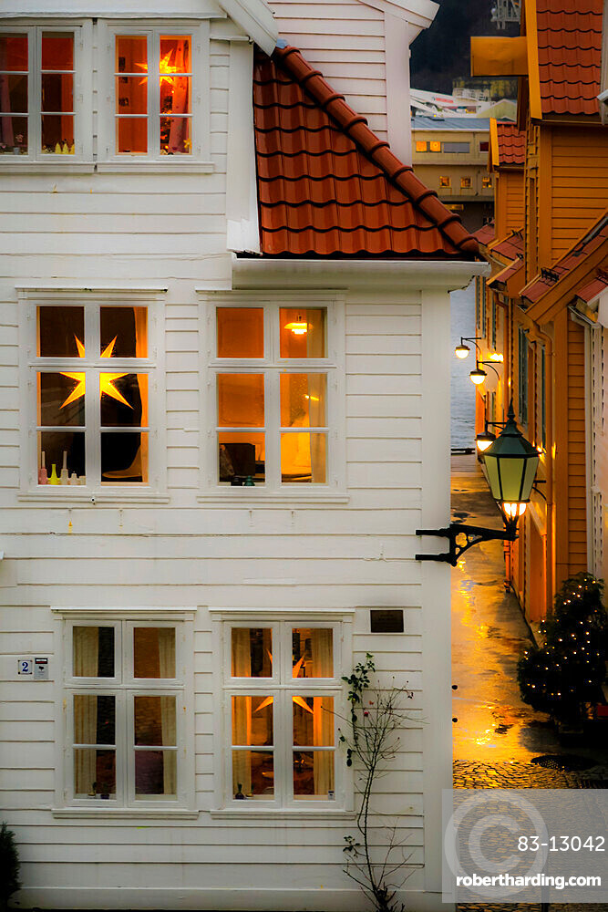 House looking 'hygge' (cosy) with Nordic Christmas star lanterns on Tvedtegarden, Sliberget Street. Bergen; Hordaland; Norway