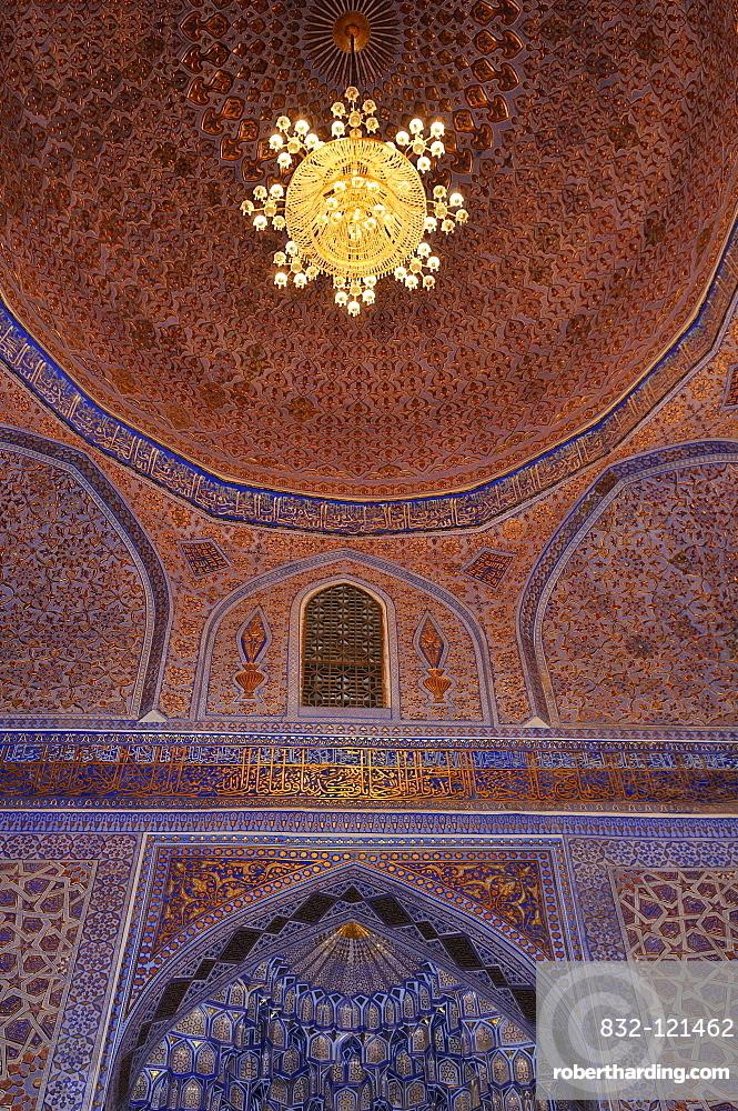 Interior cupola of Gur Emir, Gur-Amir, Guri Amir mausoleum, tomb of Timur, Temur, Tamerlane, Samarkand, Silk Road, Uzbekistan, Central Asia