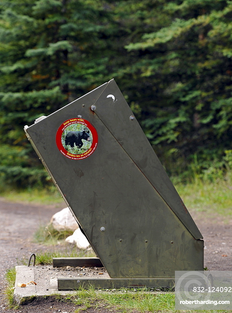Bear-proof trash can, Yellowstone National | Stock Photo