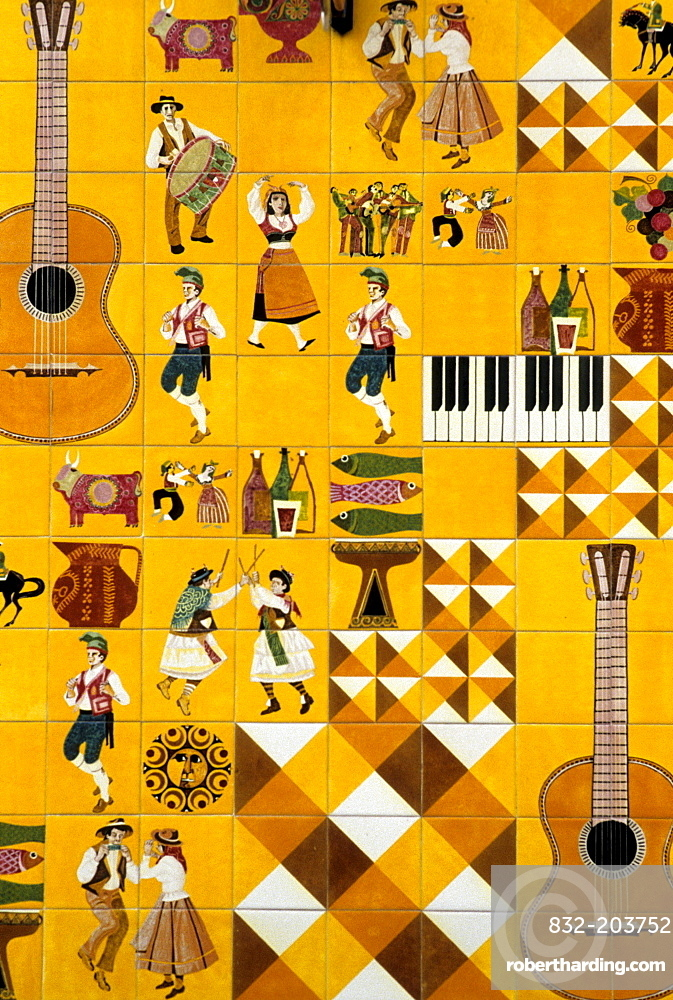 Tile facade, motifs from dance and music, Barrio Alto, Lisbon, Portugal, Europe