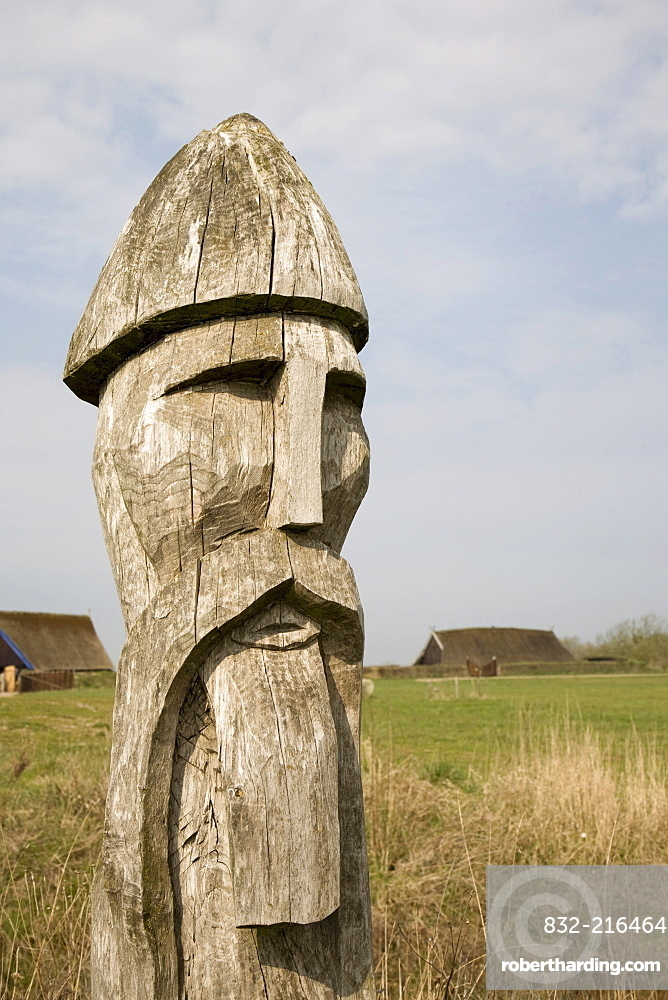 Wooden Viking head, at the Viking Museum in Bork on Ringkoebing Fjord, West Jutland, Denmark, Europe