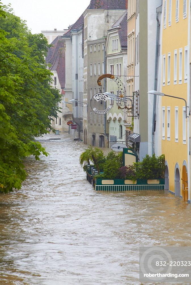 Enns floodwater in Steyr, Upper Austria, Austria, Europe
