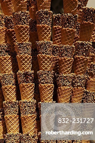 Stacked ice cream cones in an ice cream parlor, Regensburg, Upper Palatinate, Bavaria, Germany, Europe