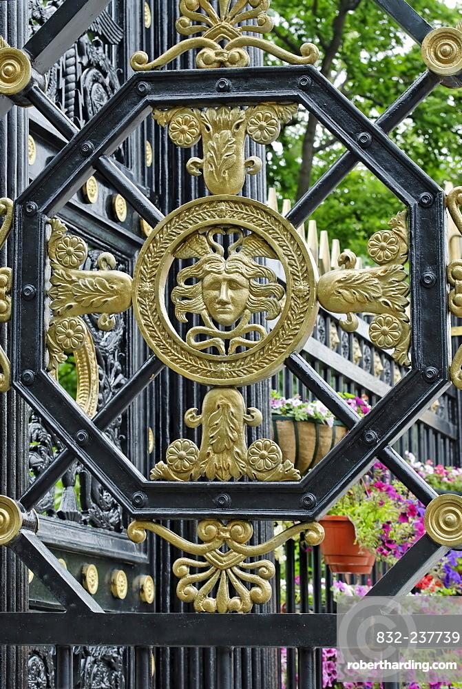 Detail of an iron gate into Alexander Garden, Kremlin, Moscow, Russia