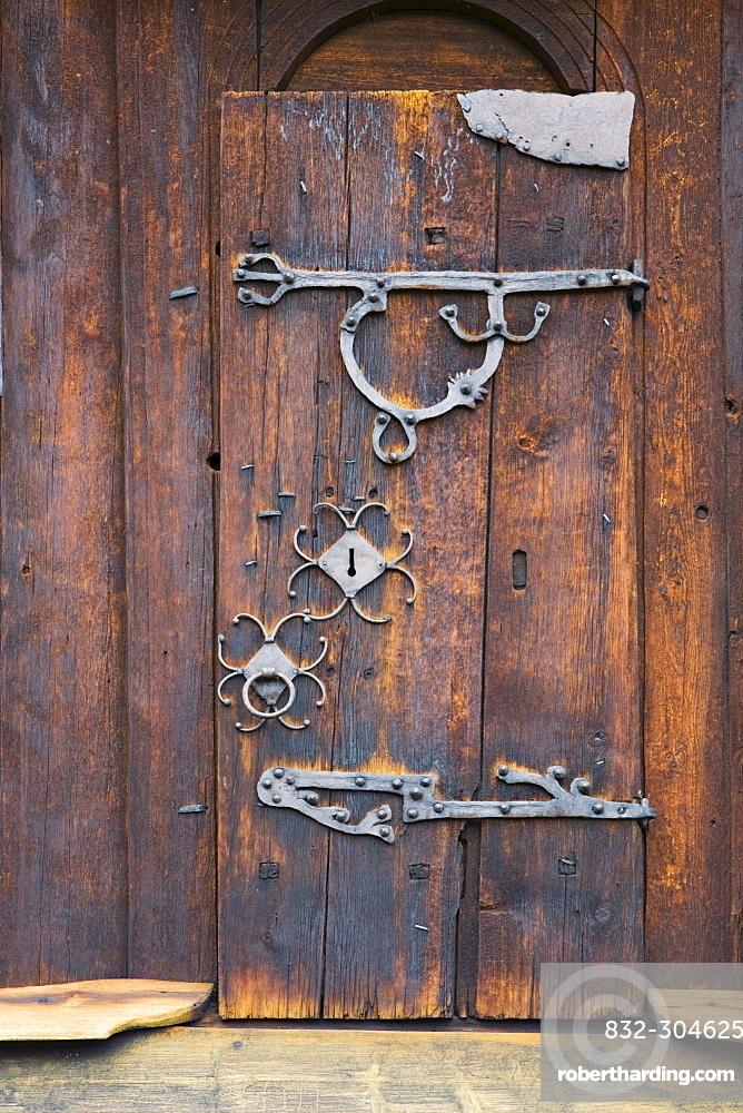 Wooden door at Uvdal stave church (12th century), Norway, Scandinavia, Europe