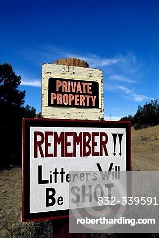 Warning sign, Santa Fe, New Mexico, USA
