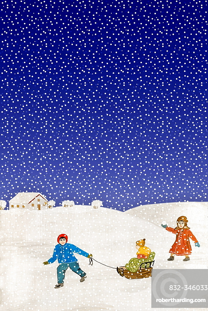 Popular painting, children playing in the snow