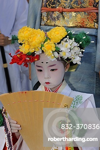 Traditionally dressed and made-up girls at a temple festival, Matsuri Festival, at the Kitano Tenmangu Shrine, Kyoto, Japan, Asia