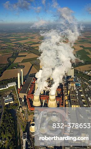 Aerial view, Niederaussem Bergheim RWE power plant, RWE Energy, coal power plant, fossil energies, smoking chimneys, emissions, cooling towers, Rhineland, North Rhine-Westphalia, Germany, Europe
