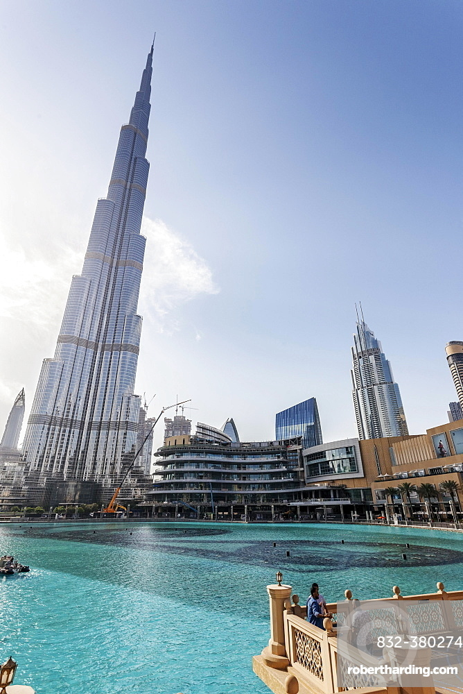 Burj Khalifa Lake, Burj Khalifa, skyscraper, fowntown, Dubai, United Arab Emirates, Asia