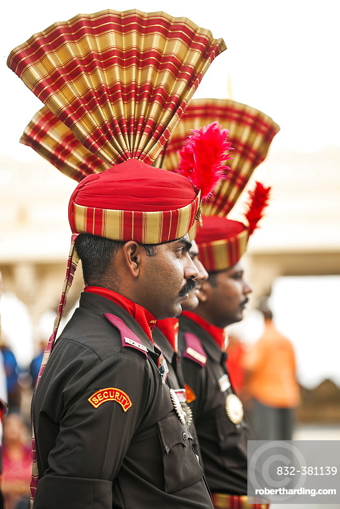 Palace guard during the changing of the guard, Udaipur, Rajasthan, India, Asia