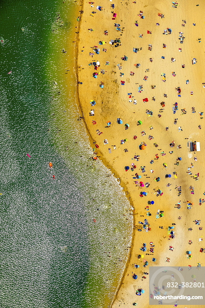 Aerial view, The most popular lido of the Ruhr area is located at the Silbersee II lake in Haltern am See, lido, turquoise water, bathers, swimming, summer feeling, Haltern am See, Ruhr area, North Rhine-Westphalia, Germany, Europe