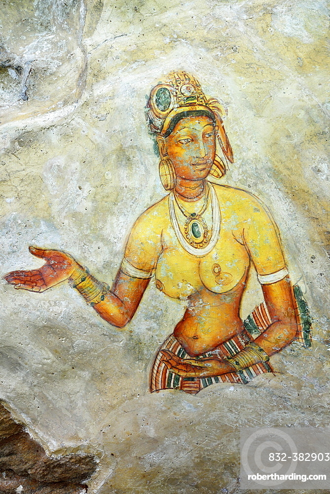 Fresco of the Cloud Girls on the Lion Rock of Sigiriya, UNESCO World Heritage Site, Sri Lanka, Asia