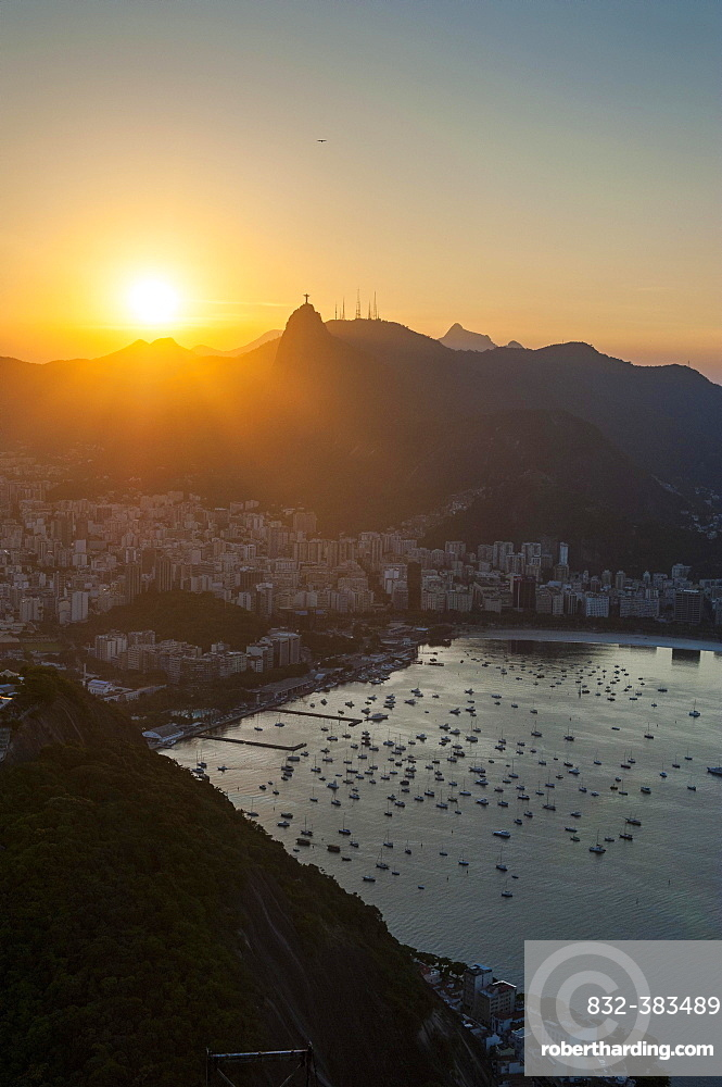 View from the Sugarloaf Mountain or Pao de Acucar at sunset, Rio de Janeiro, Brazil, South America