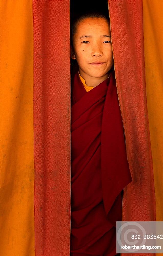 Young monk from Amitabha Monastery, Kathmandu Valley, Kathmandu, Nepal, Asia
