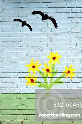 Flying birds, children's painting on a wall, mural painting, playschool, Muelheim an der Ruhr, Ruhr area, North Rhine-Westphalia, Germany, Europe
