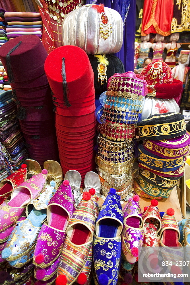 Tourist buying fez, Grand Bazaar, | Stock Photo