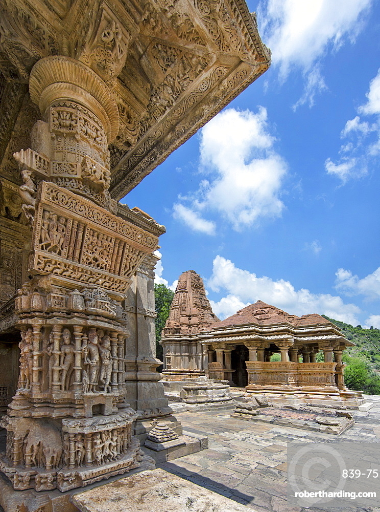 The Sas-Bahu Temples consisting of two temples and a stone archway with exquisite carvings depicting Hindu deities, near Udaipur, Rajasthan, India, Asia
