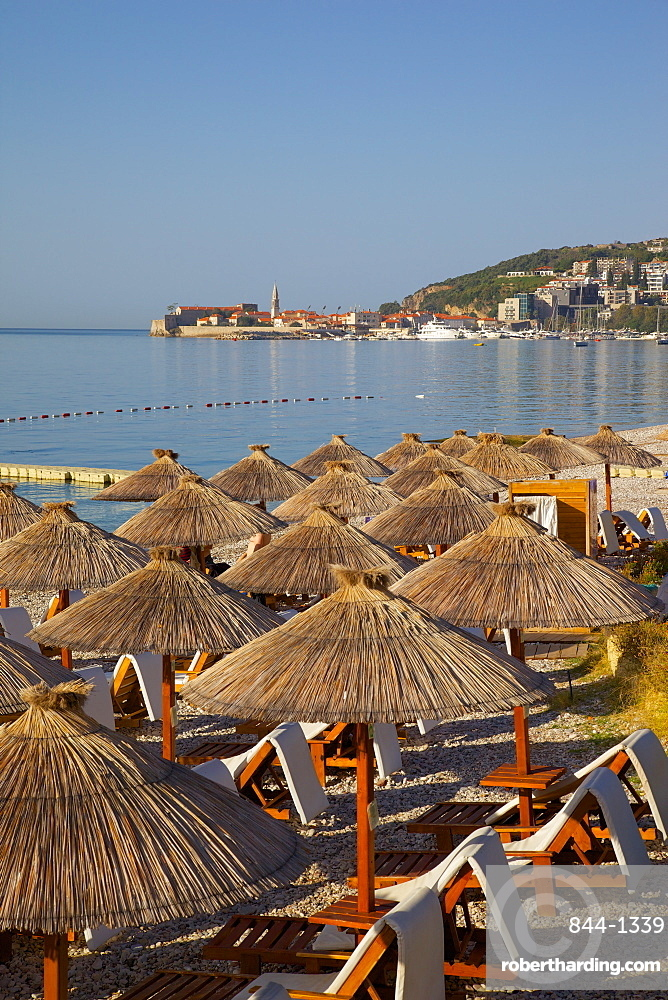 View of Budva Old Town and Beach, Budva Bay, Montenegro, Europe