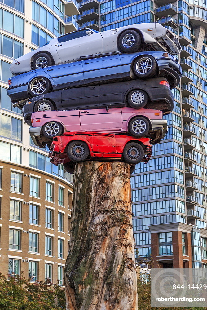 Cars stacked as modern art exhibit, Vancouver, British Columbia, Canada, North America