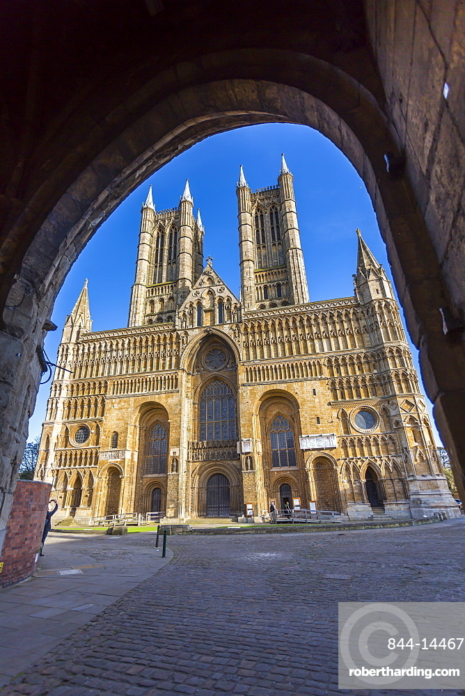 Lincoln Cathedral viewed through archway of Exchequer Gate, Lincoln, Lincolnshire, England, United Kingdom, Europe