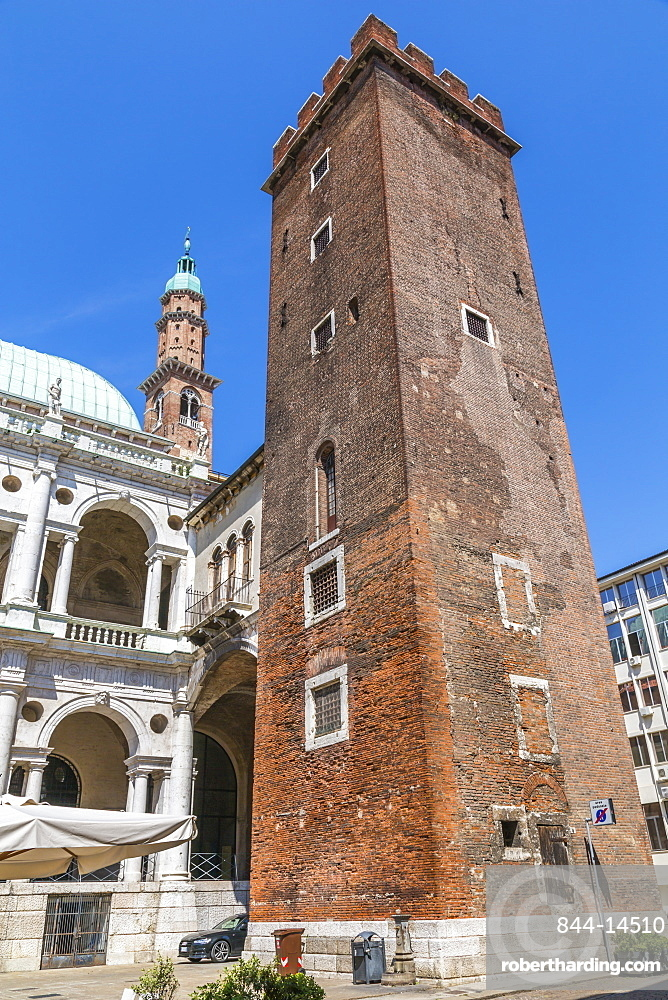 Tower of Torment and Clock tower of Palladian Basilica in Piazza Signori, Vicenza, Veneto, Italy, Europe