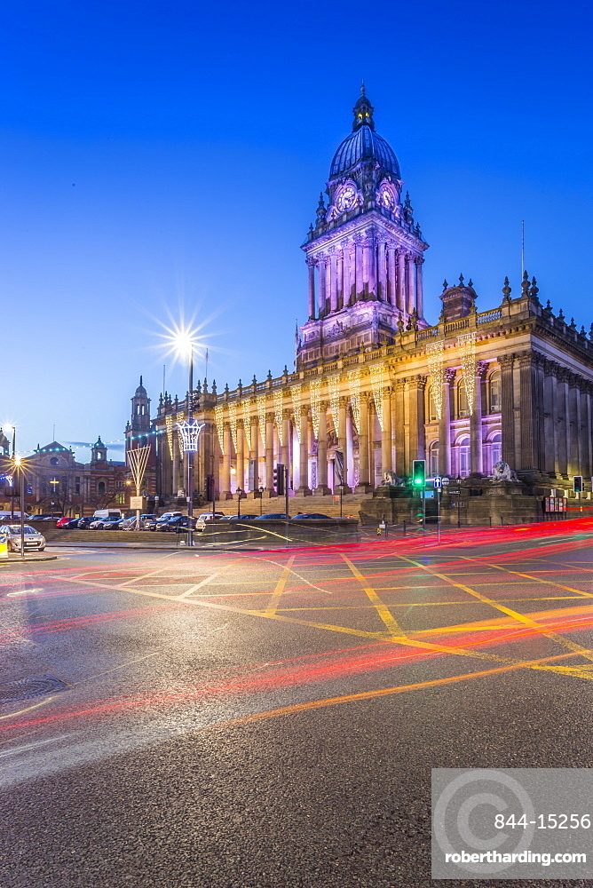 View of Leeds Town Hall at Christmas, Leeds, Yorkshire, England, United Kingdom, Europe