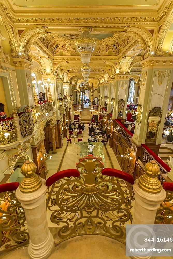 Ornate interior of New York Café, Budapest, Hungary, Europe
