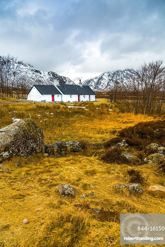 Winter storm and Blackrock Cottage, Glencoe, Highland Region, Scotland, United Kingdom, Europe