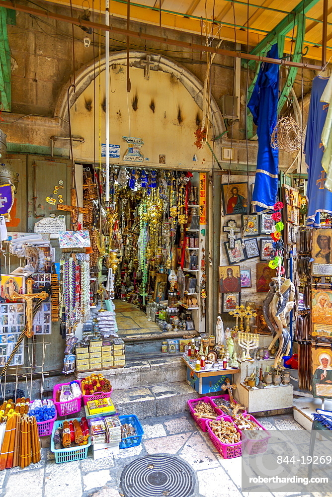 View of shop near Church of the Holy Sepulchre in Old City, Old City, UNESCO World Heritage Site, Jerusalem, Israel, Middle East