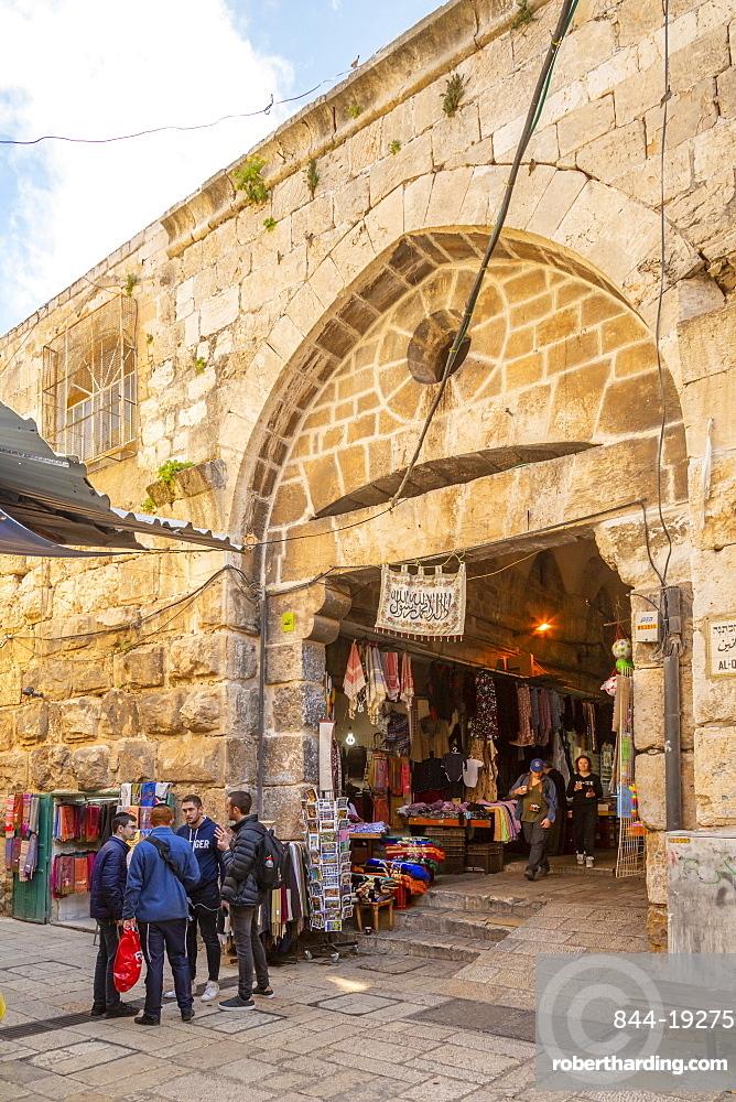 Entrance to Souk Khan al-Zeit Street in Old City, Old City, UNESCO World Heritage Site, Jerusalem, Israel, Middle East