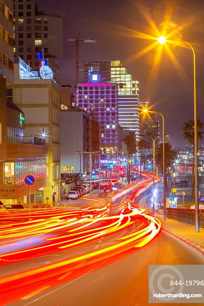 View of traffic and hotels on Hayarkon Street at night, Tel Aviv, Israel, Middle East