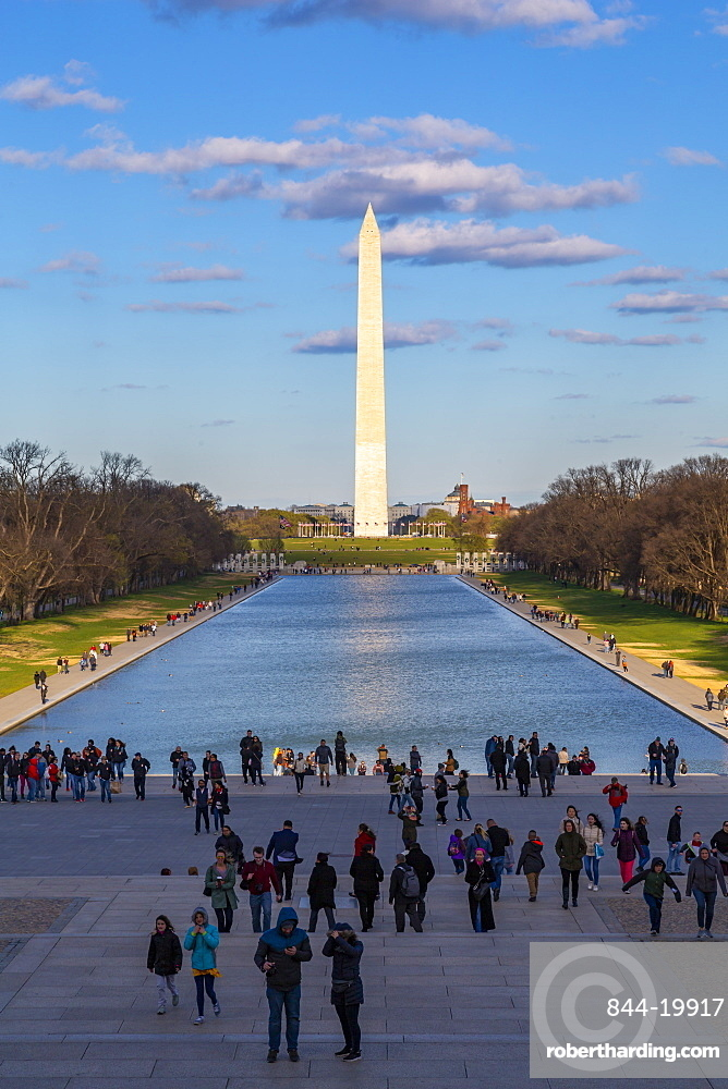 View of Lincoln Memorial Reflecting Pool and Washington Monument, Washington DC, District of Columbia, United States of America