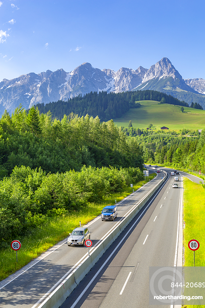 View of Fritzerkogel and autobahn near Nischofshofen, Upper Austria region of the Alps, Salzburg, Austria, Europe