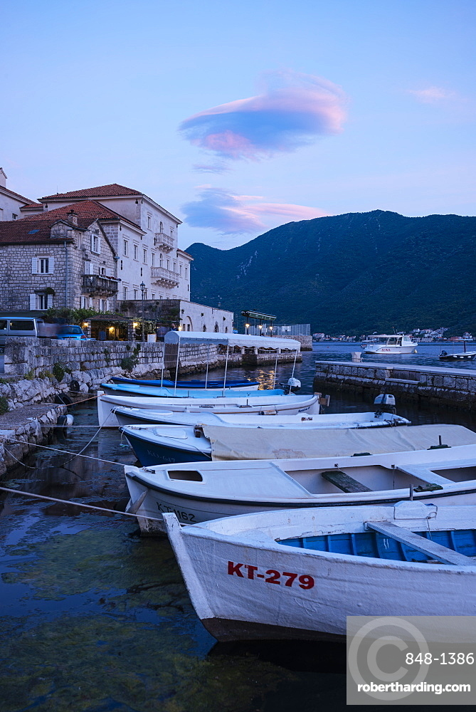 Perast at twilight, Bay of Kotor, Montenegro, Europe