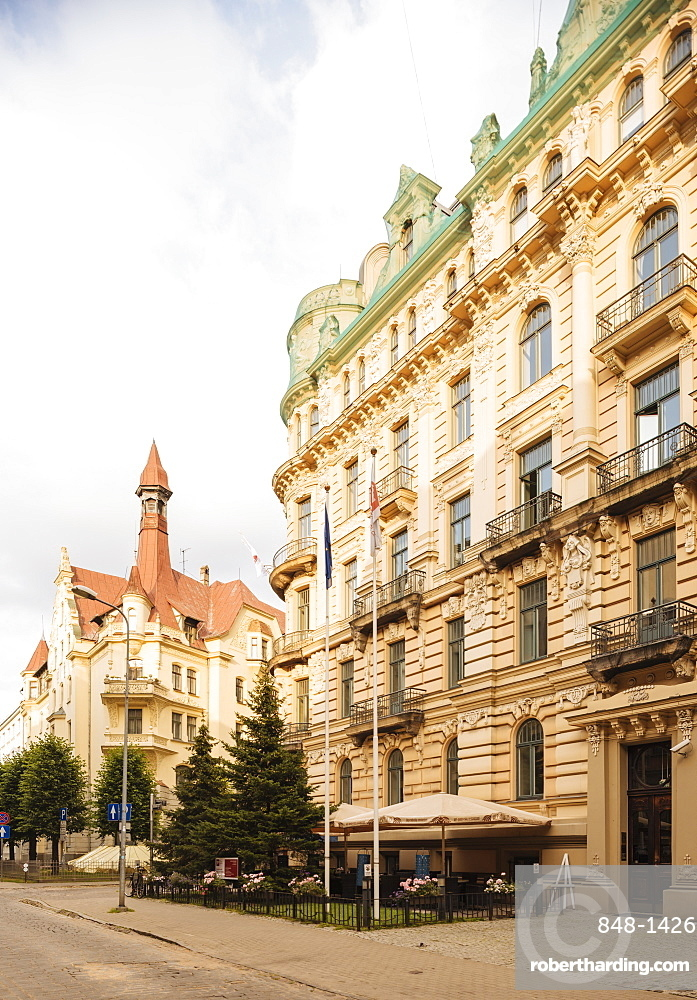 Art Noveau architecture in Central Riga, Latvia, Baltic States, Europe