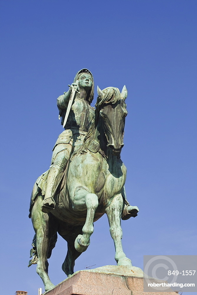 A statue of Joan of Arc riding her horse in Place du Martroi, Orleans, Loiret, France, Europe