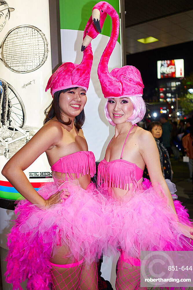 Japanese girls dressed as flamingos at thea Halloween celebrations in Shibuya, Tokyo