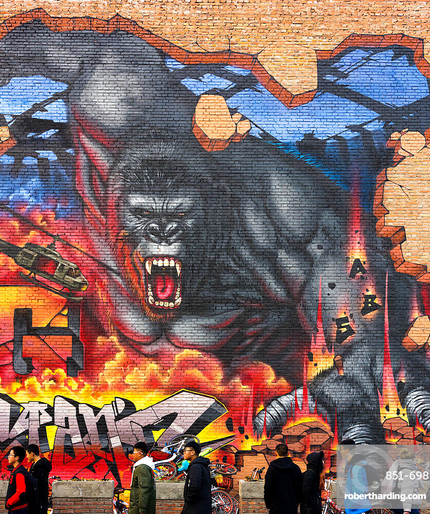 People in front of King Kong graffiti at the 798 Art Zone (Dashanzi Art District) in Beijing, China, Asia
