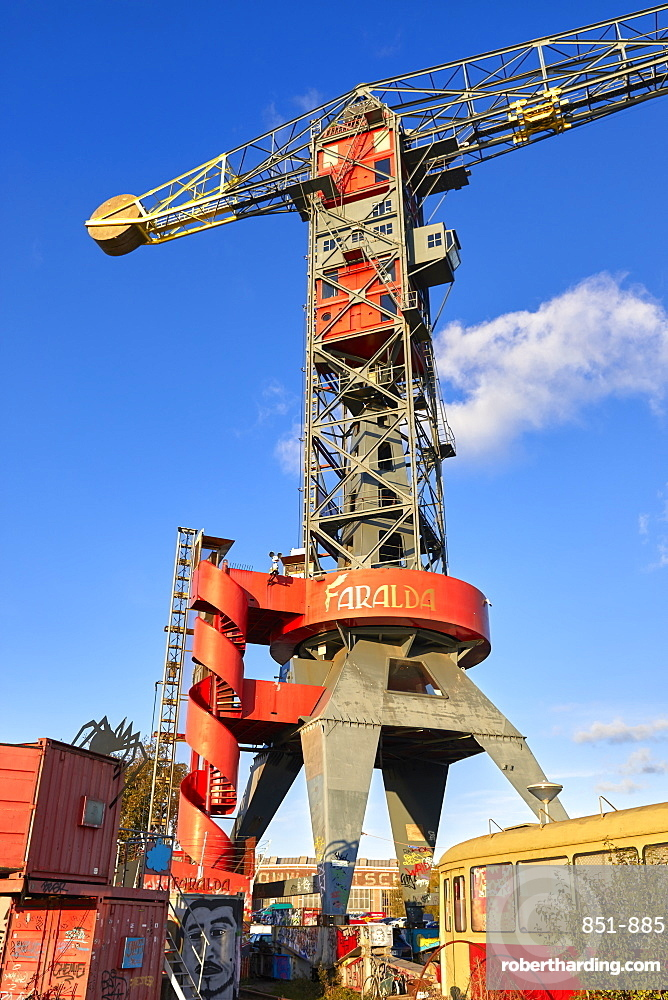 The Faralda Crane hotel at NDSM wharf in Amsterdam's hipster area in Amsterdam-Noord, Netherlands.