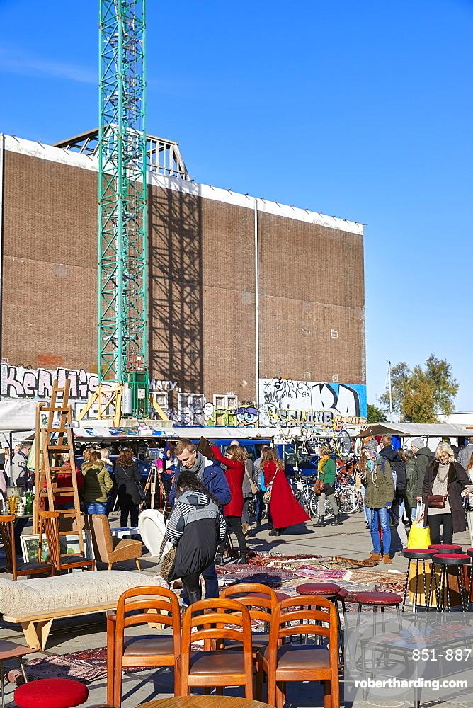 IJ Hallen monthly market at the NDSM in Amsterdam Noord, Netherlands, is the biggest flea market in Europe.