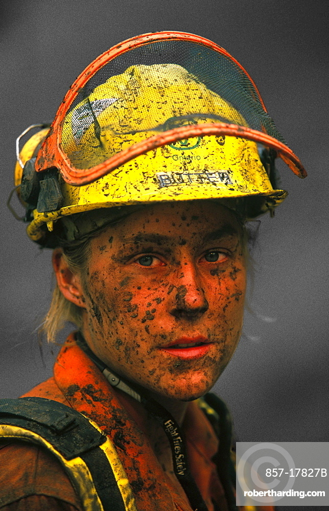 Canadian firefighter Jennifer Boyko after an exhausting day battling the Bitterroot forest fire in the Bitterroot National Forest, near Hamilton, Montana.