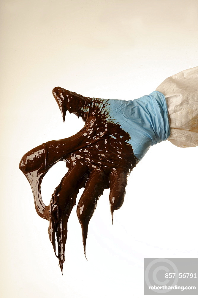 The site of the BP Deepwater Horizon oil drilling catastrophe: Gloved hand with thick, dripping oil