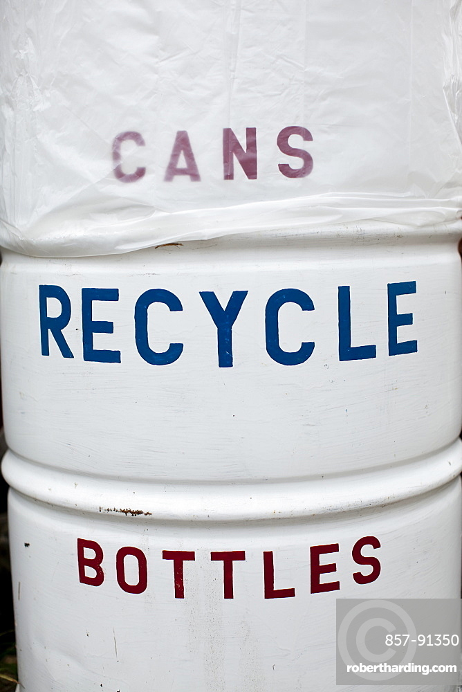 A trash can reading Recycling, Bottles, Cans