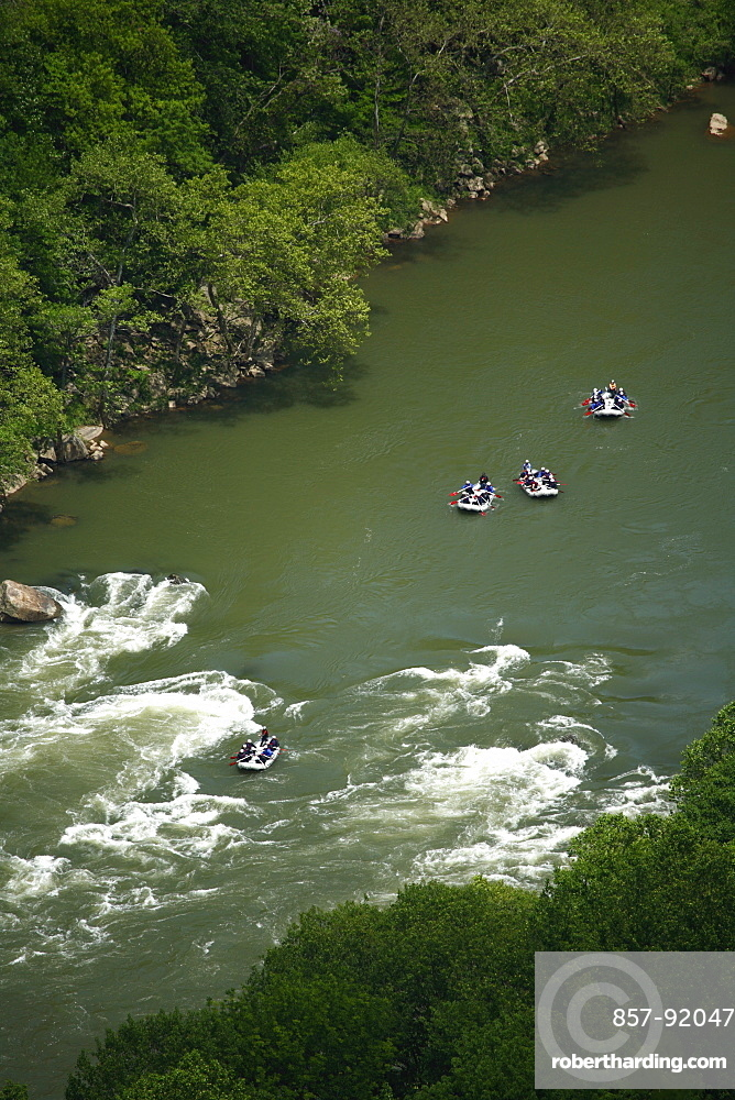 Aerial View of whitewater rafters in the New River in WV