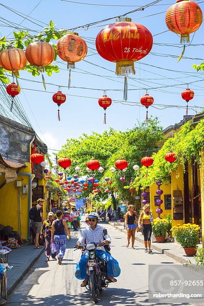 Colorful street scene in Hoi An ancient town, Quang Nam Province, Vietnam