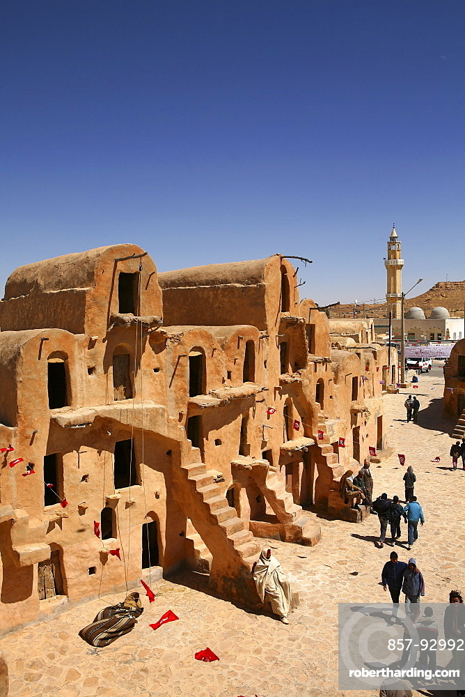 Tunisia, Ksar Ouled Soltane, former fortress and its 400 Ghorfas